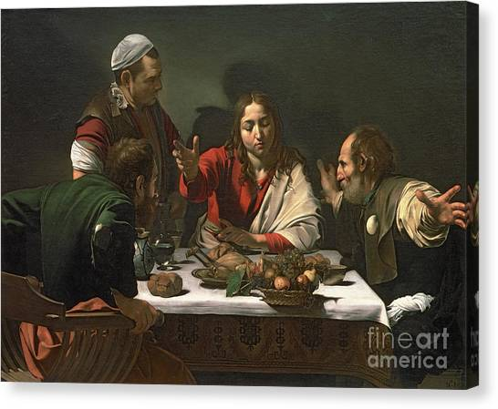 Pilgrims Canvas Print - The Supper At Emmaus by Caravaggio
