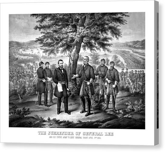 Confederate Canvas Print - The Surrender Of General Lee  by War Is Hell Store