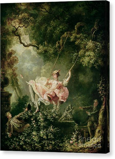 Swing Canvas Print - The Swing  by Jean-Honore Fragonard