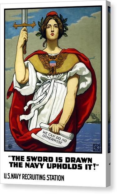 Lady Canvas Print - The Sword Is Drawn - The Navy Upholds It by War Is Hell Store