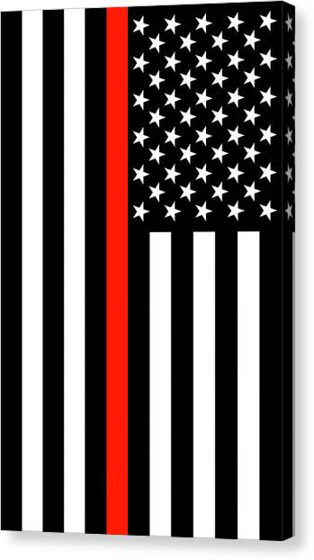 Volunteer Firefighter Canvas Print - The Symbolic Thin Red Line American Firefighter Heroes Tribute by Garaga Designs