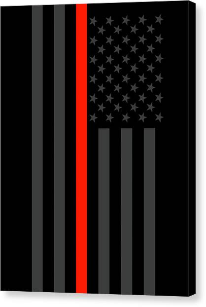 Volunteer Firefighter Canvas Print - The Symbolic Thin Red Line Us Flag Firefighter Heroes Tribute by Garaga Designs