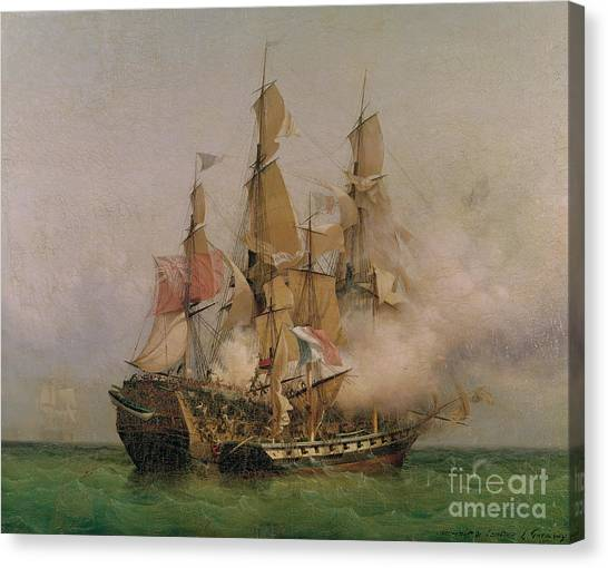 Engagement Canvas Print - The Taking Of The Kent by Ambroise Louis Garneray