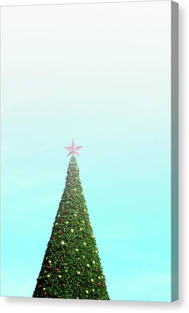 Christmas Tree Canvas Print - The Tallest Christmas Tee- Photograph By Linda Woods by Linda Woods