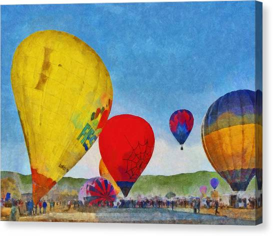 Canvas Print featuring the digital art The Taos Mountain Balloon Rally 6 by Digital Photographic Arts