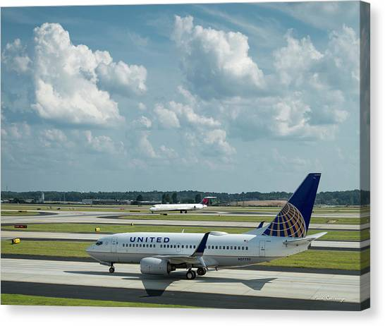 Star Alliance Canvas Print - The Taxiway United Airlines Airplane N27733 Boeing 737-724 Art by Reid Callaway