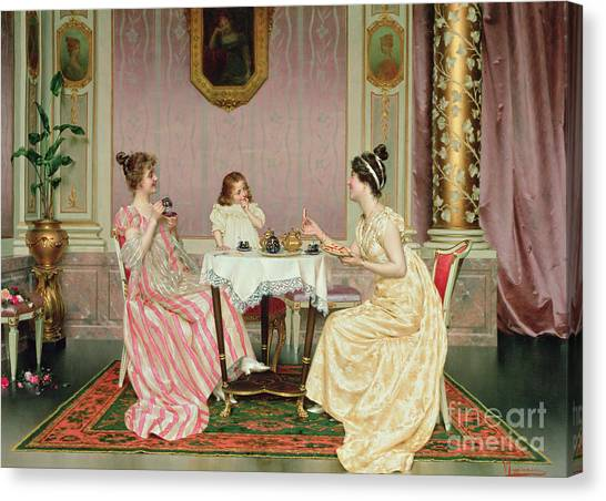 Coffee Plant Canvas Print - The Tea Party by Vittorio Reggianini