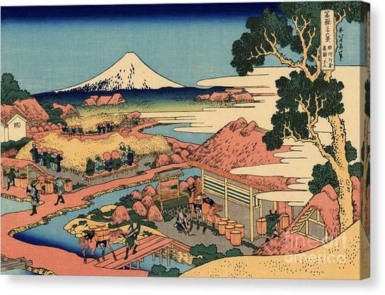 Mount Fuji Canvas Print - The Tea Plantation Of Katakura In The Suruga Province by Hokusai
