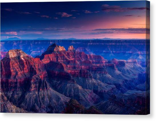 North Rim Canvas Print - The Temples And Bright Angel Canyon by Dan Holmes