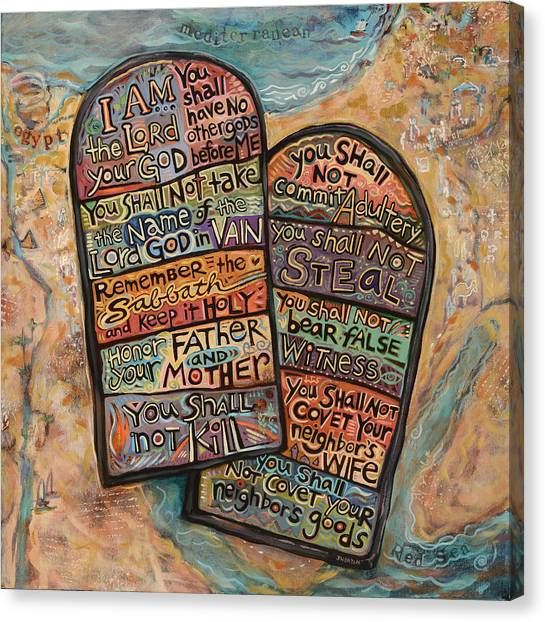 Old Testament Canvas Print - The Ten Commandments by Jen Norton