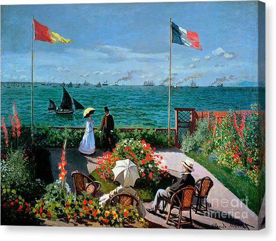 Horizons Canvas Print - The Terrace At Sainte Adresse by Claude Monet