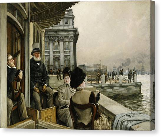 Neoclassical Art Canvas Print - The Terrace Of The Trafalgar Tavern Greenwich by James Jacques Joseph Tissot