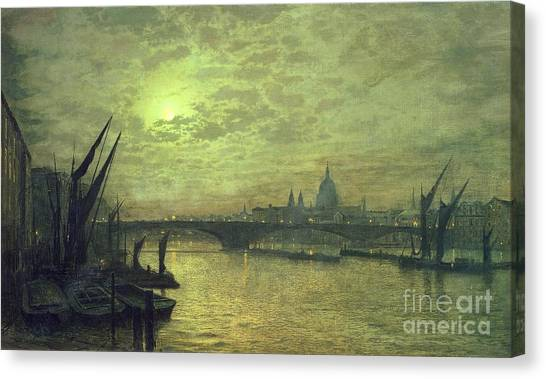 Moon Canvas Print - The Thames By Moonlight With Southwark Bridge by John Atkinson Grimshaw