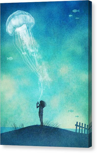 Floating Girl Canvas Print - The Thing About Jellyfish by Eric Fan