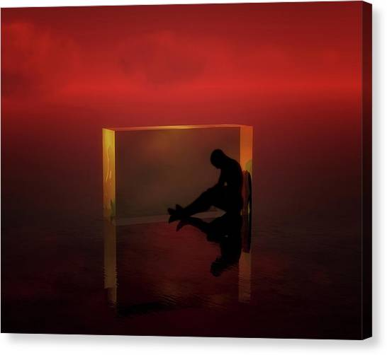 Canvas Print featuring the mixed media The Thinker by Jan Keteleer