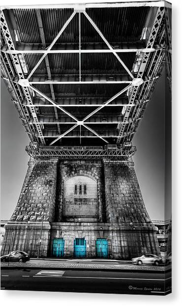 American Steel Canvas Print - The Three Blue Doors by Marvin Spates