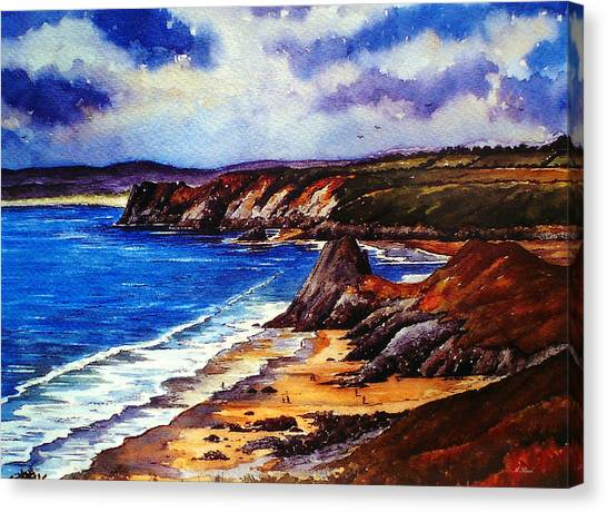 People Walking On Beach Canvas Print - The Three Cliffs Bay by Andrew Read