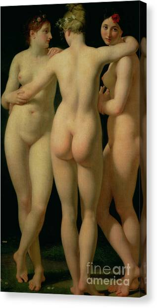 Sexuality Canvas Print - The Three Graces by Jean Baptiste Regnault