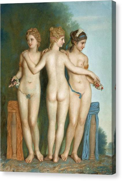 Erotic Framed Canvas Print - The Three Graces by Jean-Etienne Liotard