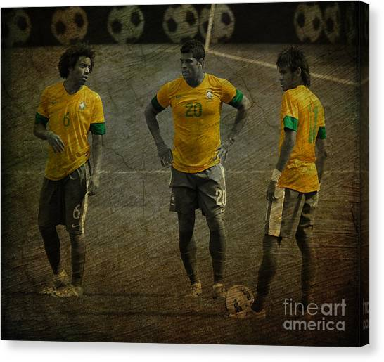 Lionel Messi Canvas Print - The Three Kings Marcelo Hulk Neymar Os Tres Reis  by Lee Dos Santos
