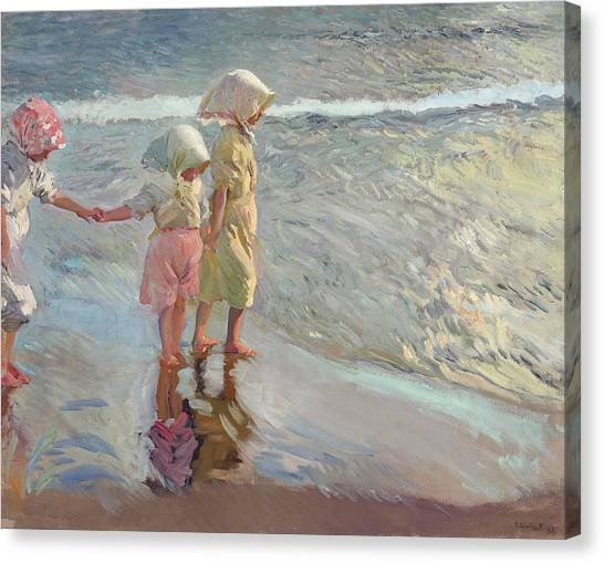 The Three Sisters On The Beach Canvas Print
