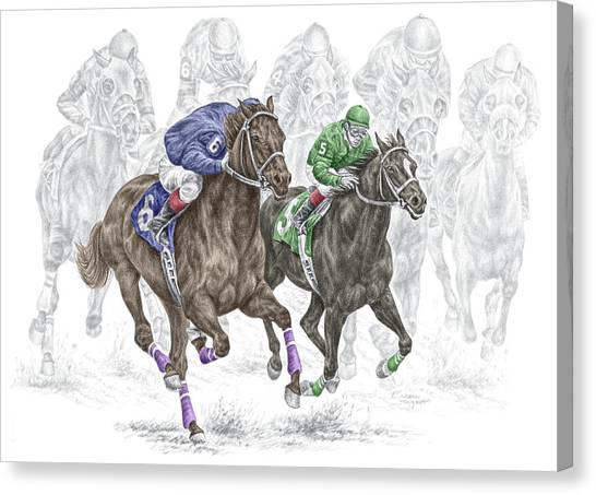 The Thunder Of Hooves - Horse Racing Print Color Canvas Print