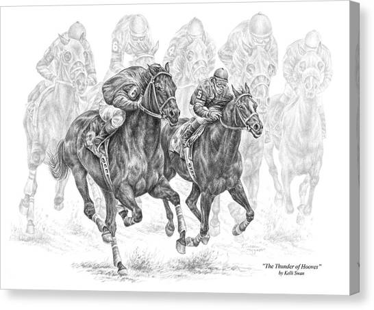 The Thunder Of Hooves - Horse Racing Print Canvas Print
