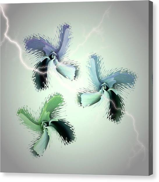 The Thunderbolt Dance Of Rose Butterflies - 4 Canvas Print by Jacqueline Migell