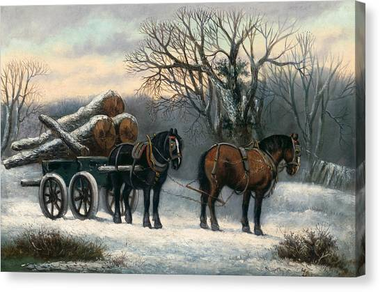 Deforestation Canvas Print - The Timber Wagon In Winter by Anonymous