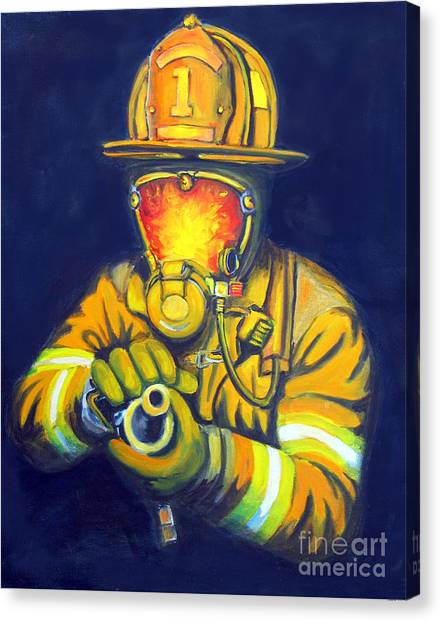 Firefighters Canvas Print - The Tip by Paul Walsh