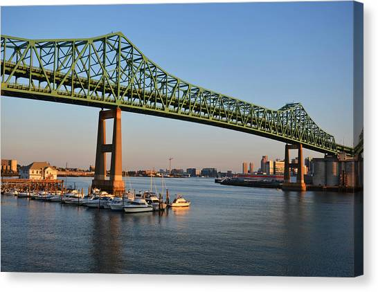 The Tobin Bridge Into The Sunset Chelsea Yacht Club Canvas Print