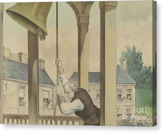 New England Revolution Canvas Print - The Tocsin Of Liberty Rung By The State House Bell, Philadelphia On July 4th 1776 by Currier and Ives