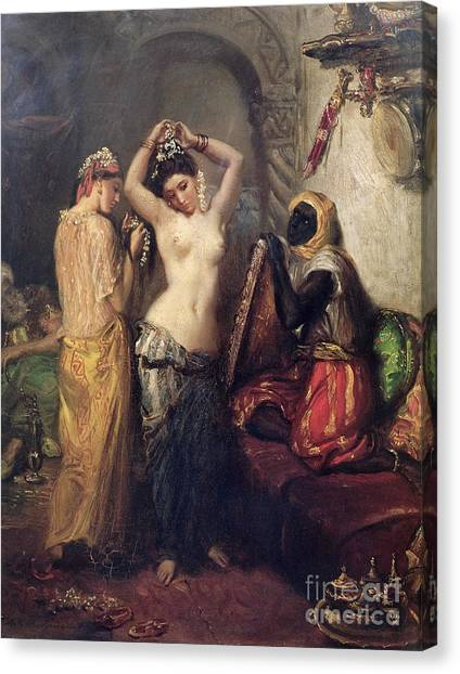 Slavery Canvas Print - The Toilet In The Seraglio by Theodore Chasseriau