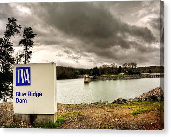 The Top Of Blue Ridge Dam Canvas Print by Greg and Chrystal Mimbs
