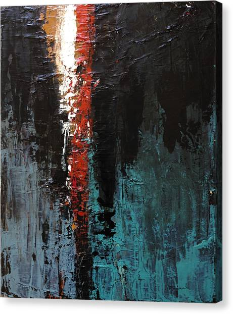 Canvas Print featuring the painting The Torn Curtain by Nathan Rhoads