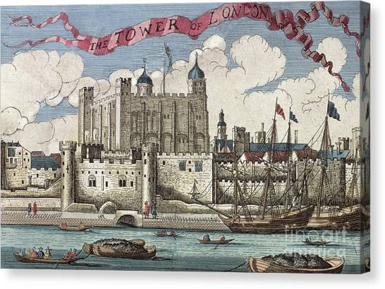 Tower Of London Canvas Print - The Tower Of London Seen From The River Thames by English School