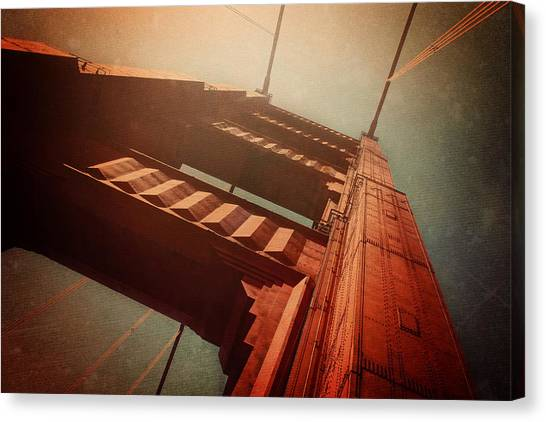American Steel Canvas Print - The Towering Golden Gate by Carol Japp
