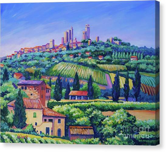 Wine Art Canvas Print - The Towers Of San Gimignano by John Clark
