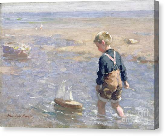 Paddle Canvas Print - The Toy Boat by William Marshall Brown
