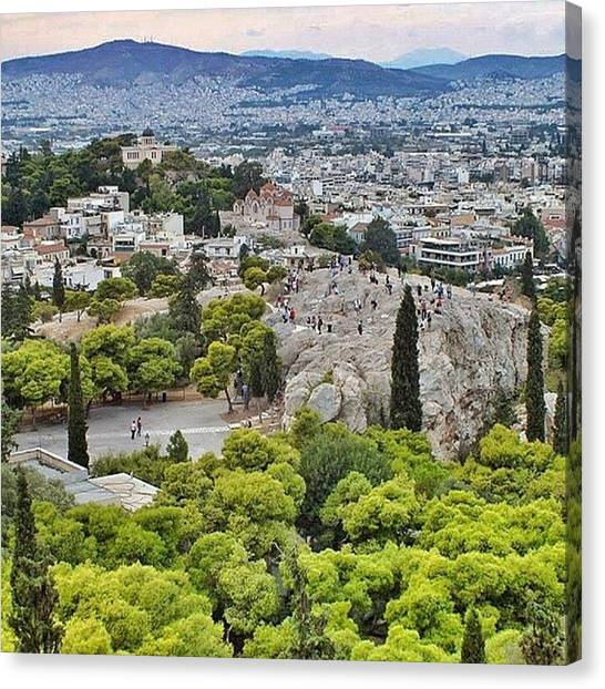 The Acropolis Canvas Print - The Traditional #areopagus At The Base by David Requena