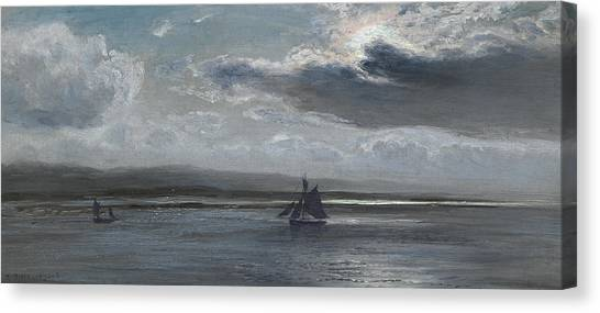 Silver Moonlight Canvas Print - The Traeth Mawr, Moonlight by Henry Moore