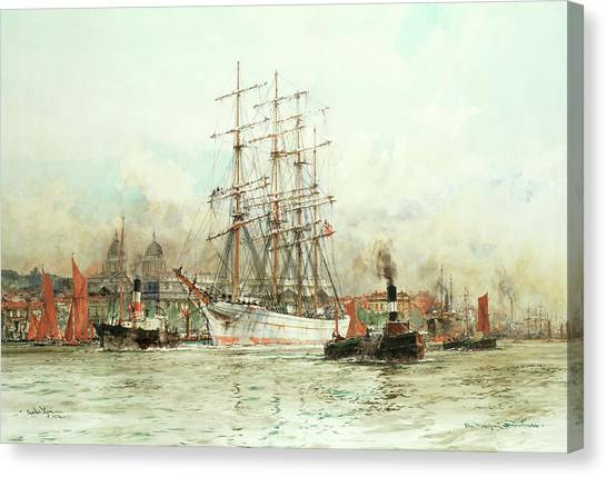 The British Museum Canvas Print - The Trafalgar Off Greenwic by Charles Edward Dixon