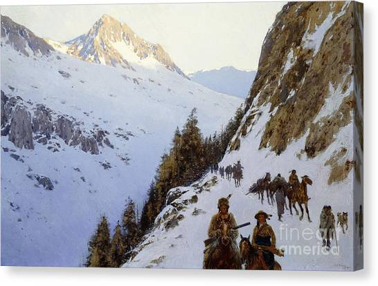 Mountain Cliffs Canvas Print - The Trail Over The Pass, 1910 by Henry Francois Farny