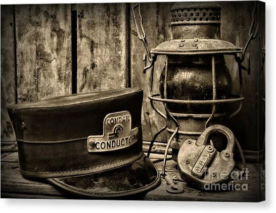 Train Conductor Canvas Print - The Train Conductor In Black And White by Paul Ward