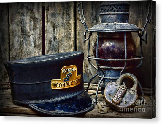 Train Conductor Canvas Print - The Train Conductor by Paul Ward