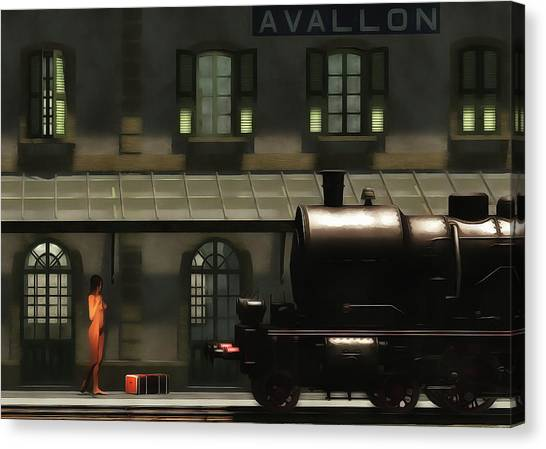 Canvas Print featuring the painting The Train In The Morning by Jan Keteleer