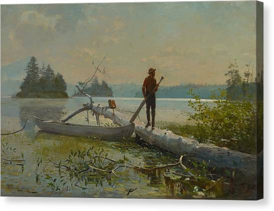Winslow Canvas Print - The Trapper by Winslow Homer