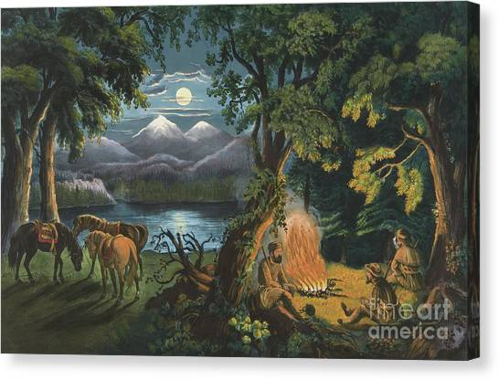 Currier And Ives Canvas Print - The Trappers Camp Fire by Currier and Ives