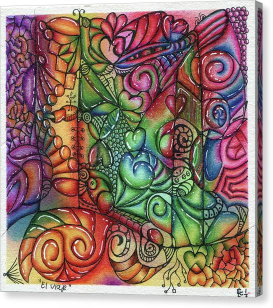 Ballpoint Pens Canvas Print - The Travel - El Viaje by Carlos Cano - Grindilu