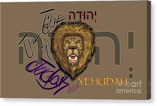The Tribe Of Judah Hebrew Canvas Print